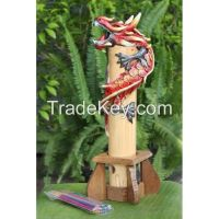Bamboo Red Dragon Incense Holder