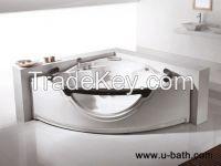 U-BATH Sector Shaped Acrylic and Glass Indoor Whirlpool Hot Tub , Massage Bathtub