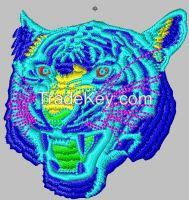 metallic color yarn embroidery patch