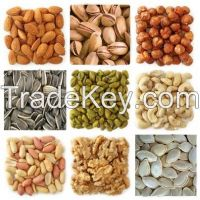 Cashew Nuts, Peanuts, Walnuts, Betel Nuts, Pistachio Nuts, Sunflower Kernels, Pumpkin Kernels, Chestnuts, Almonds, Hazelnuts, Melon Seeds, Pine Nuts, Macadamia Nuts,