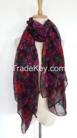 100% Polyester Floar Flower Printed Fashion Scarf  Beach Scarf