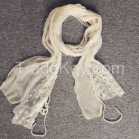 Lady's Fashion Lace Beads Woman Scarves Shinning Neckwear