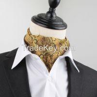 men classic polyester jacquard weave paisley ascot cravat tie for men