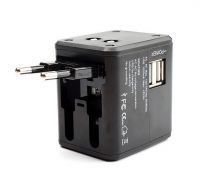 Universal Travel Adapter Power Adapter Wall Charger With Dual USB AC Power Plug Adapter Converters for EU UK US/AU