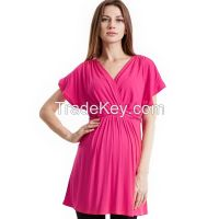 Maternity Basic Blouse Top, V neck Short sleeve in Viscose Tencel Rayon