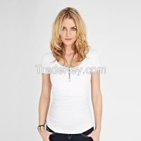 Maternity Basic Blouse Top, Round neck V neck Short sleeve in Viscose Tencel Rayon