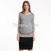 Maternitystriped Bouse top, maternity long sleeve top in Viscose Tencel Rayon