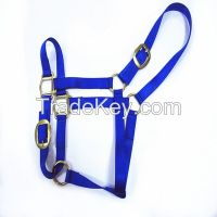 Nylon horse halter with solid brass hardware