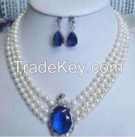 """3 rows white pearl sapphire pendant necklace earrings 17""""-19""""S+FA+A+D+"""