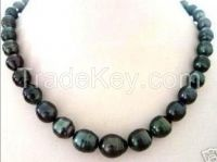 """NEW NATURAL 9-10MM TAHITIAN RICE BLACK PEARL NECKLACE 18"""""""