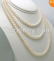 """7-8mm 60"""" long Genuine white freshwater pearl necklace"""