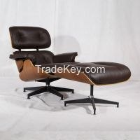Charles eames genuine leather lounge chair with ottoman replica factory