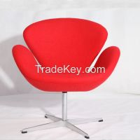 Genuine leather/cashmere wool Arne Jacobsen swan chair reproduction factory