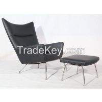Hans wegner style wing chair with ottoman replica lounge chair