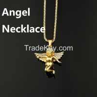 24K Gold Plated Iced Out Baby Angel Pendant & 32inch Box Chain Hiphop Necklace
