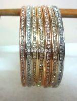 Designer Bangle Set of 7,in three tones- Silver,Gold Copper
