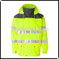 yellow oxford safety clothing with high reflective tape and breathable