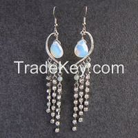 Lady's Gemstone opal rhinestone filled earrings and sets