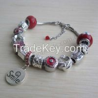 Pandora style beads with metal charms bangle bracelet