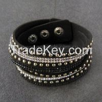 Handmade adjustable cuff leather rope weave rhinestone unisex bracelet