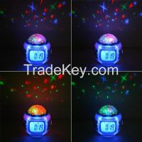 Music Starry Star Sky Projection Alarm Clock Calendar Thermometer