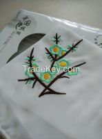 Silk Handkerchief With Manual Embroidery Of Wintersweet Pattern