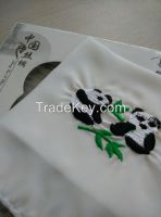 Silk Handkerchief With Manual Embroidery Of Panda Pattern