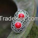 Chinese Traditional Silver and Red Precious Stone Earrings