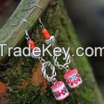 Chinese Traditional Silver&Fabric Earrings