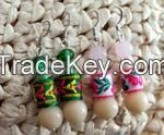 Chinese Traditional Fabrics and White Precious Stone Earrings