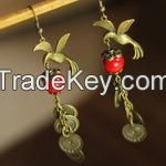 Chinese Traditional Old Style Copper and Red Precious Stone Earrings