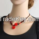 Chinese Traditional Necklace with Red Precious Stoner