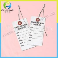Sinicline Custom White Paper Hangtag Label, tyvek paper hangtag with metal string or ribbon