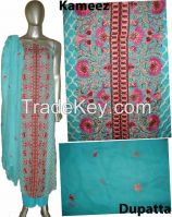Crinkle chiffon Indian Pakistani embroidery designer design women ladies party fashion dresses