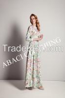 2015 new fashion long dress european style lady floral dress