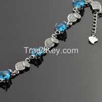 100% 925 sterling silver inlaid cubic zirconia charm bracelets