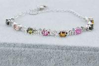 100% 925 sterling silver inlaid gemstone fashion bracelet