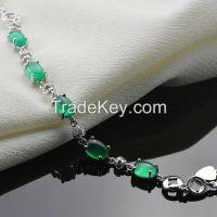 Fashion 925 sterling silver inlaid cubic zirconia charm bracelets