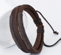 Fashion woven genuine leather bracelet  with wax code