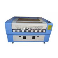 CO2 leather cutting machine, double heads with auto feeding system