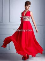 bow belt with appliqued beaded  halter dress