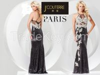 appliqued  lace flower s with a mock halter neck  x back thintie party dress