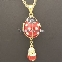 Ladybug Gold Plated Russian Style Faberge Easter Egg Enameled pendant necklace