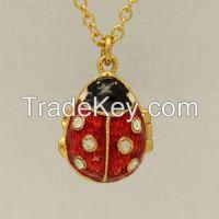 Ladybug Gold Plated Russian Style Faberge Easter Egg Enameled pendant necklace