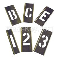 APPROVED VENDOR 6A231 Interlocking Stencil Numb Letters Brass APPROVED VENDOR 6A231