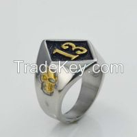 Number 13 Skull Biker Ring in Stainless Steel Jewelry