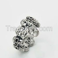 Titanium Stainless steel punk white Fashion Skull Biker Ring Jewelry
