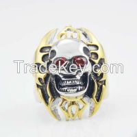Fashion golden Halloween skull ring for wholesale