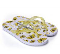 women butterfly flat flip flops summer beach slippers