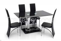 Modern Stainless Steel Glass Dining Table